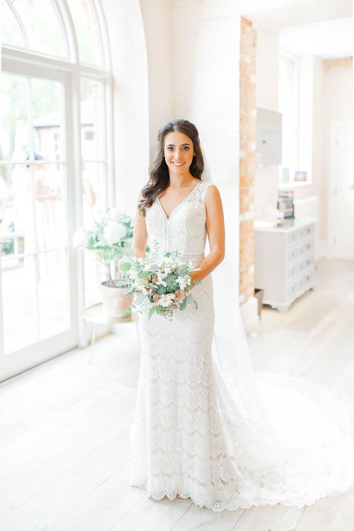 Beautiful Bride in Lace Dress from Blackburn Bridal | Elegant Pastel Wedding at Gaynes Park, Essex | White Stag Wedding Photography | At Motion Film