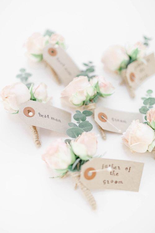 Buttonholes | Elegant Pastel Wedding at Gaynes Park, Essex | White Stag Wedding Photography | At Motion Film