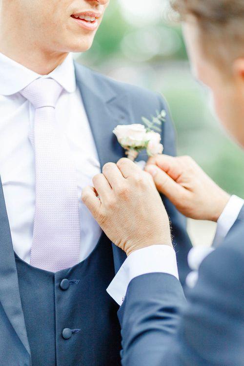 Buttonhole | Elegant Pastel Wedding at Gaynes Park, Essex | White Stag Wedding Photography | At Motion Film