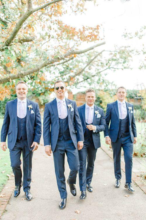 Groomsmen in Navy Three Piece Suits | Elegant Pastel Wedding at Gaynes Park, Essex | White Stag Wedding Photography | At Motion Film