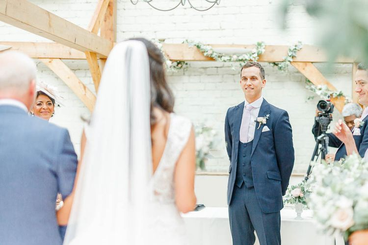 Wedding Ceremony | Bride in Lace Gown from Blackburn Bridal | Elegant Pastel Wedding at Gaynes Park, Essex | White Stag Wedding Photography | At Motion Film