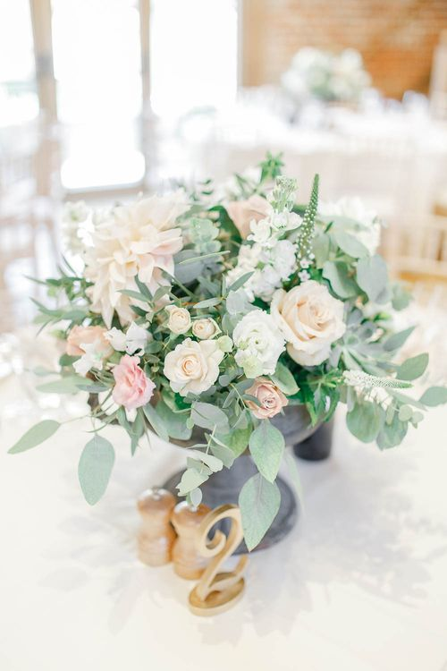 Floral Centrepiece | Elegant Pastel Wedding at Gaynes Park, Essex | White Stag Wedding Photography | At Motion Film