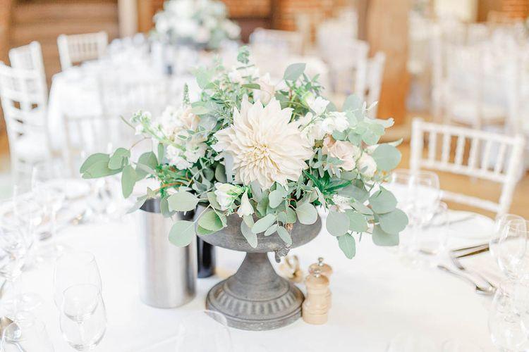 Blush Pink Floral Centrepiece | Elegant Pastel Wedding at Gaynes Park, Essex | White Stag Wedding Photography | At Motion Film