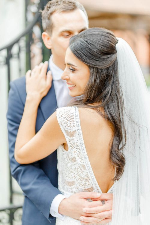 Bride in Lace Gown from Blackburn Bridal | Groom in Navy Three-piece Suit | Elegant Pastel Wedding at Gaynes Park, Essex | White Stag Wedding Photography | At Motion Film