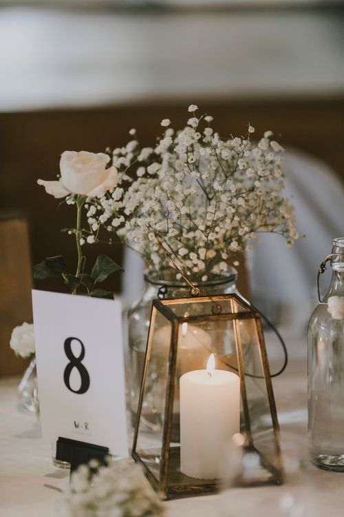 Table Centrepiece with Gypsophila in a Bottle