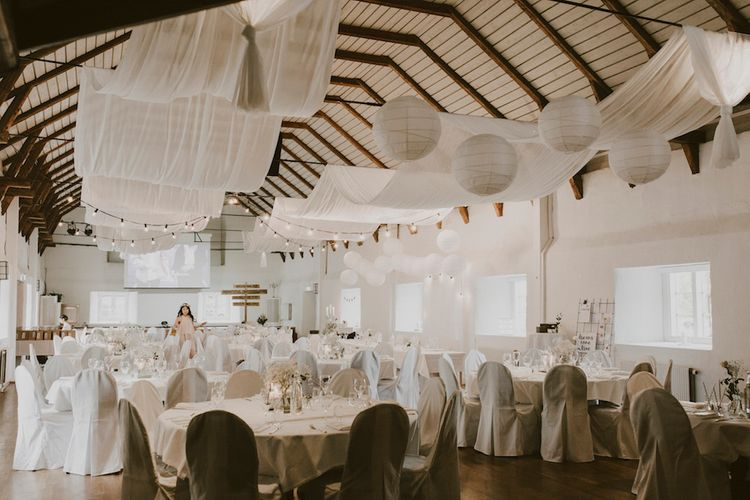 All White Decorated Barn with Hanging Paper Lanterns, Drapes & Flowers