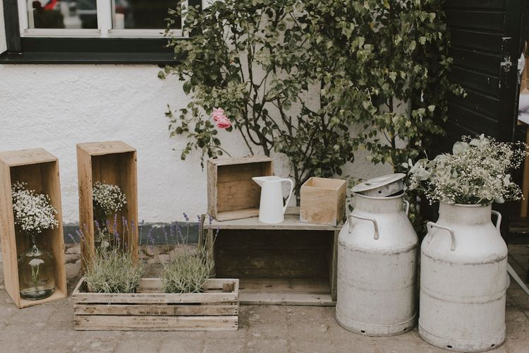 Milk Churns, Crates & Pitcher Jugs Wedding Decor