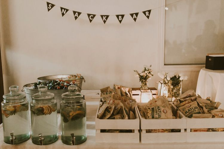 Rustic Snack Bar with Crates & Drinks Dispensers