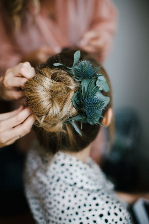 Bridal Up Do With Foliage