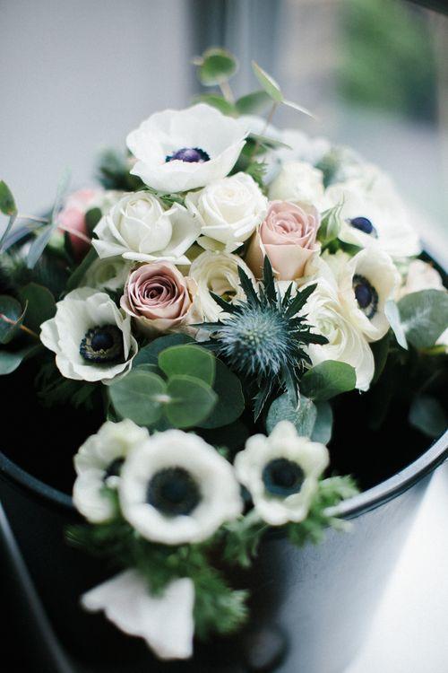 White Anemone & Rose Wedding Flowers