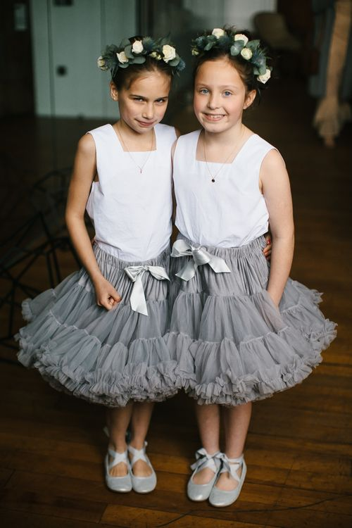 Flower Girls In Grey Tutus