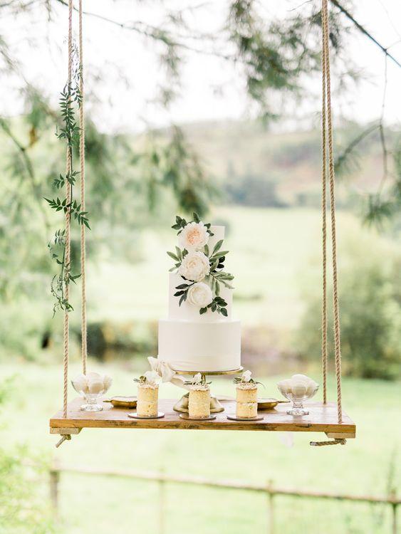 Hanging Swing Dessert Table   Rivercatcher Intimate Wedding Inspiration   Jade Leung Wedding Design   Heledd Roberts Photography