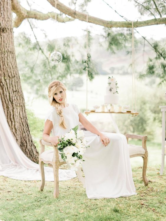 Bride in Ailsa Munro Separates & Fishtail Braid   Hanging Swing Dessert Table   Rivercatcher Intimate Wedding Inspiration   Jade Leung Wedding Design   Heledd Roberts Photography