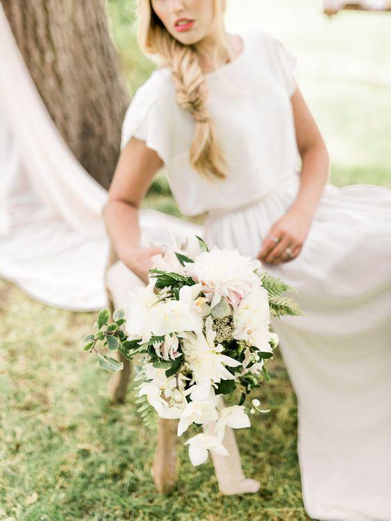 Romantic White & Blush Bouquet   Bride in Ailsa Munro Separates & Fishtail Braid   Rivercatcher Intimate Wedding Inspiration   Jade Leung Wedding Design   Heledd Roberts Photography