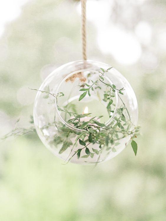 Hanging Votive with Greenery Decor   Rivercatcher Intimate Wedding Inspiration   Jade Leung Wedding Design   Heledd Roberts Photography