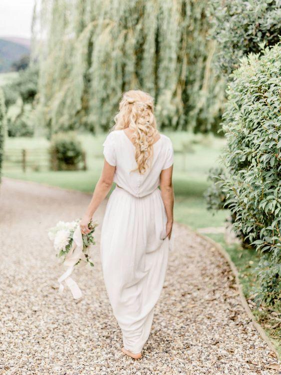 Bride in Ailsa Munro Separates & Wavy Hair   Rivercatcher Intimate Wedding Inspiration   Jade Leung Wedding Design   Heledd Roberts Photography