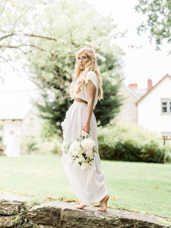 Bride in Ailsa Munro Separates   Romantic Blush & White Bouquet   Rivercatcher Intimate Wedding Inspiration   Jade Leung Wedding Design   Heledd Roberts Photography