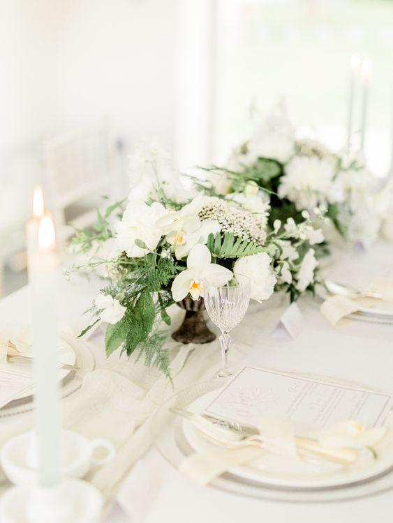 White & Greenery Decor   Elegant Tablescape   Rivercatcher Intimate Wedding Inspiration   Jade Leung Wedding Design   Heledd Roberts Photography