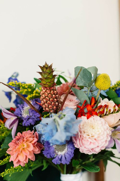 Bright Wedding Flowers with Mini Pineapple