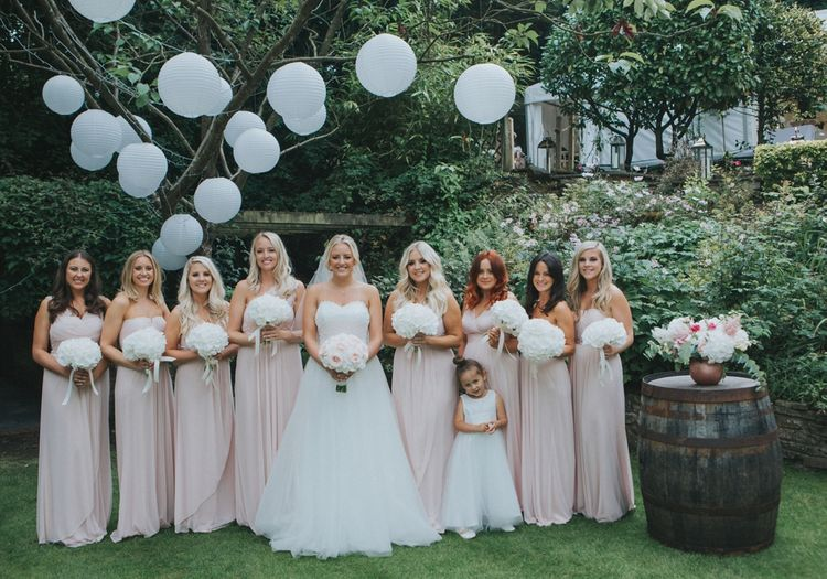 Blush & Copper Details For A Rustic Luxe At Home Wedding With Bridesmaids In Adrianna Pappel & Images From Julia & You Photography