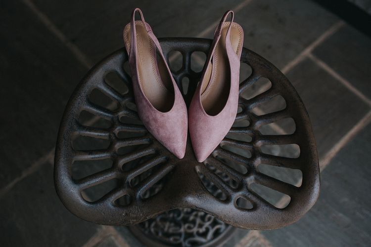 Pink Suede Flats For Bride