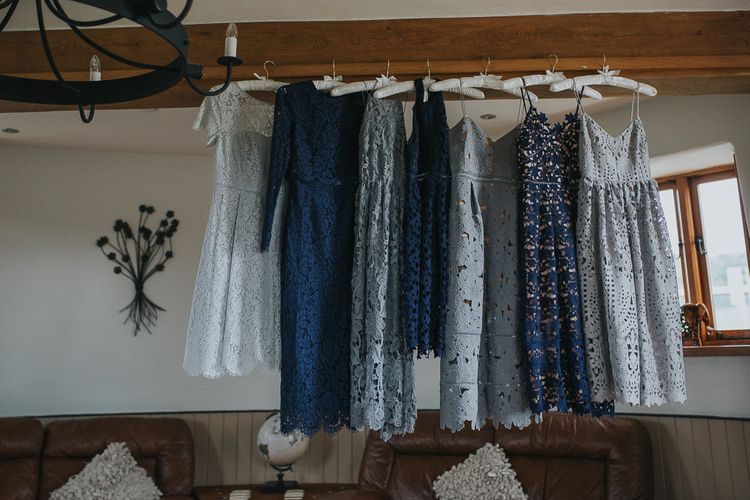 Blue Tonal Dresses In Lace For Wedding Party