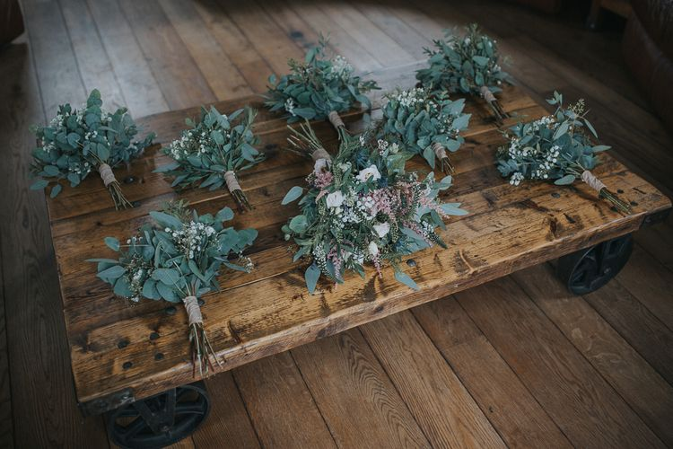 Rustic Foliage Flower Crowns & Bouquets For Wedding Party