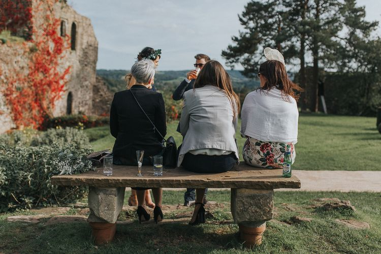 Stylish Usk Castle Wedding With Bride In Flower Crown With Pixie Crop & Bridesmaids In Tonal Blue Lace Dresses With Images From Magda K Photography