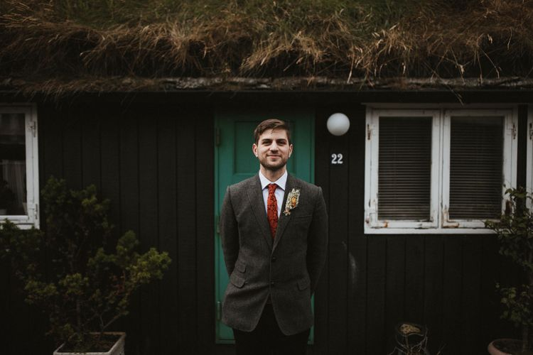 Groom in Tweed Jacket   A Rainy Elopement on the Faroe Islands, North of Scotland   James Frost Photography