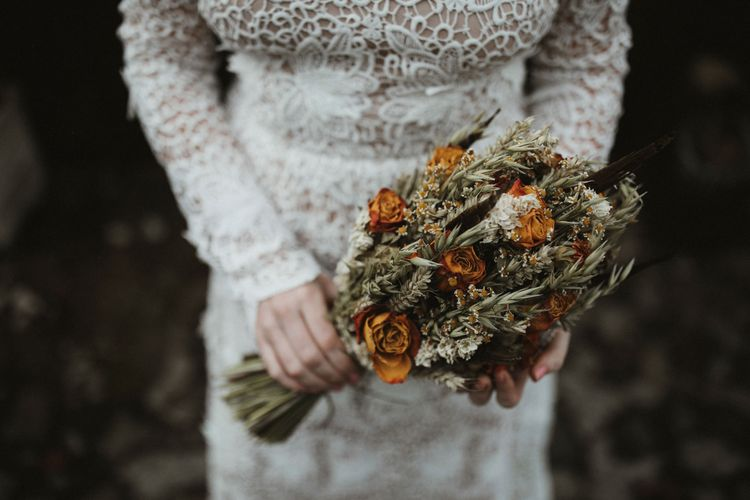 Artisan Dried Flowers Bouquet   A Rainy Elopement on the Faroe Islands, North of Scotland   James Frost Photography
