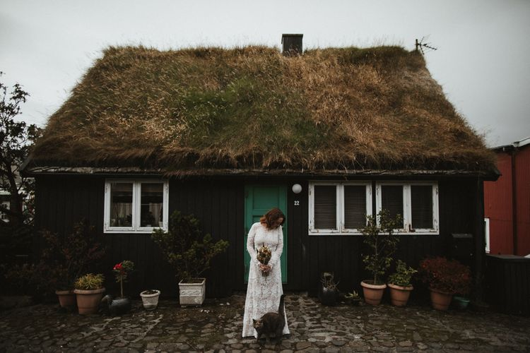Bride in BHLDN Lace Dress   A Rainy Elopement on the Faroe Islands, North of Scotland   James Frost Photography
