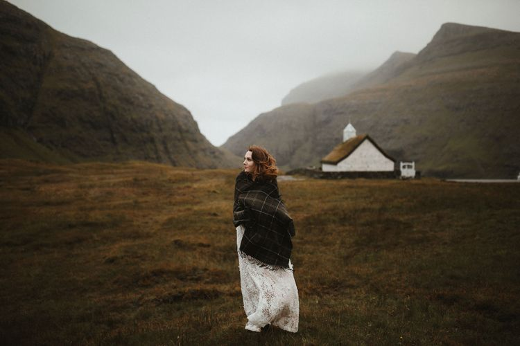 Bride in Lace BHLDN Dress   A Rainy Elopement on the Faroe Islands, North of Scotland   James Frost Photography