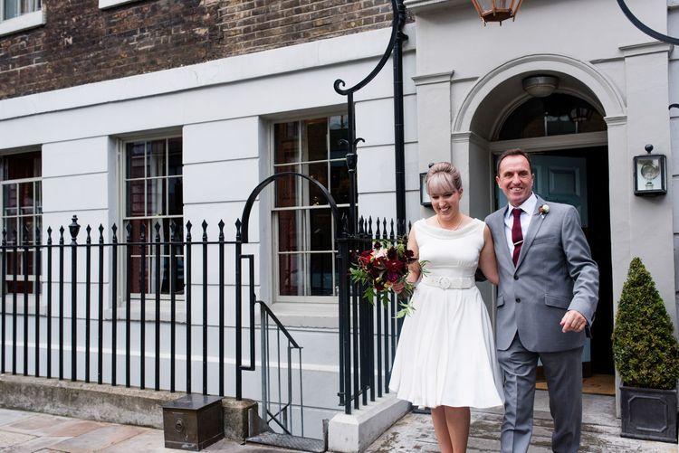 Bride in Bespoke Tea Length Wedding Dress | 60s Inspired London Pub Wedding | The Peasant | Babb Photo