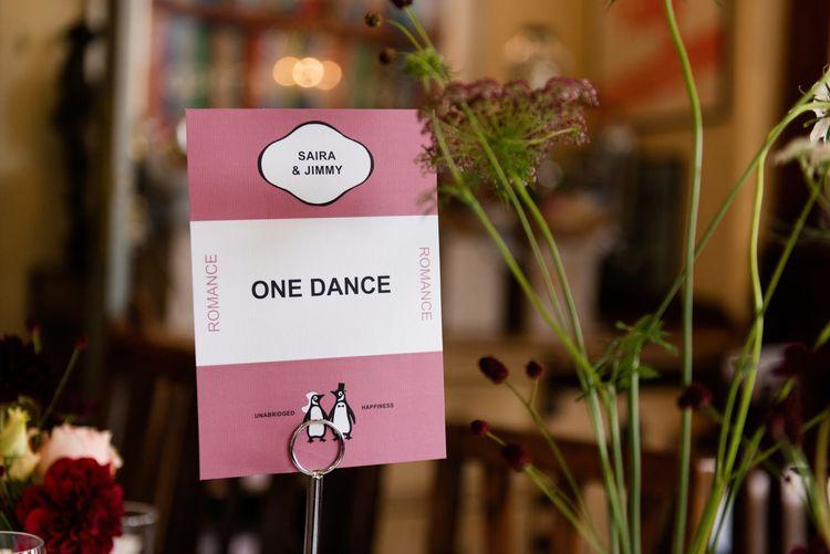 Vintage Penguin Books Table Name | 60s Inspired London Pub Wedding | The Peasant | Babb Photo