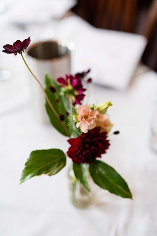 Red Dahlia Stems in Vases | Wedding Decor | 60s Inspired London Pub Wedding | The Peasant | Babb Photo