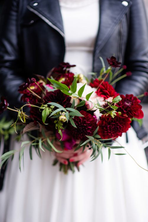 Red Dalia Wedding Bouquet | 60s Inspired London Pub Wedding | The Peasant | Babb Photo