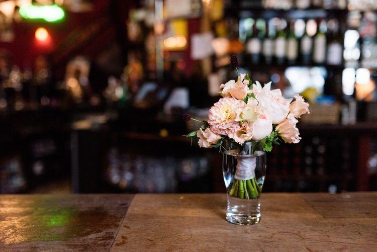 Pink Dahlia Bridesmaid Posey | 60s Inspired London Pub Wedding | The Peasant | Babb Photo