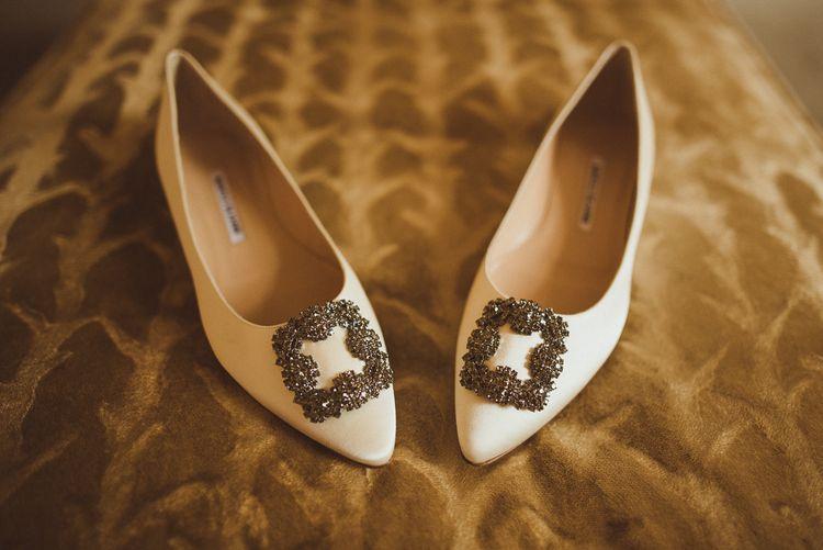 Ivory Satin Hangisi Manolo Blahnik Bridal Shoes