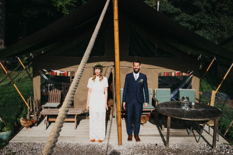 Self Portrait Bride For A Rustic Wedding At The Gathering Edale With Bridesmaids In Navy & Images From Claudia Rose Carter