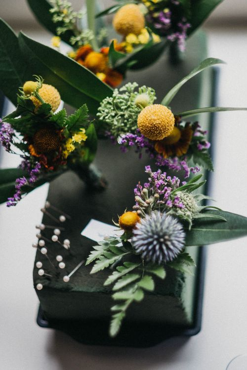 Rustic Buttonholes With Mustard Colour Accents