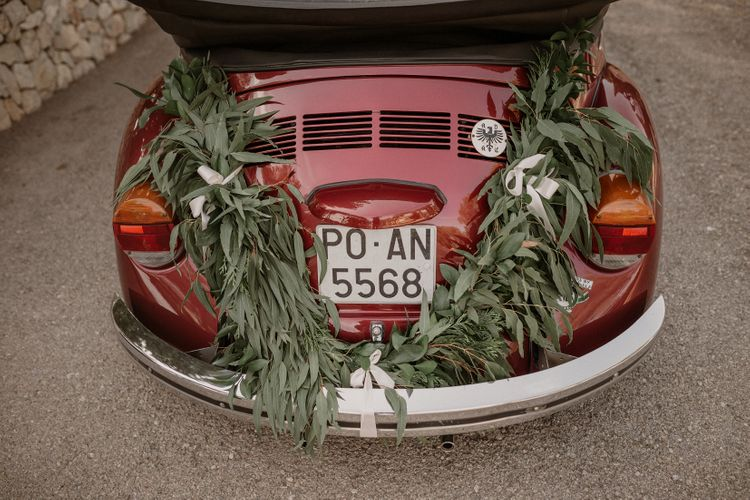 Wedding Car | Bride in Lihi Hod Bridal Gown | Multicultural Wedding at Els Calderers in Mallorca, Spain | Pablo Laguia Photography | HUMá06 Film