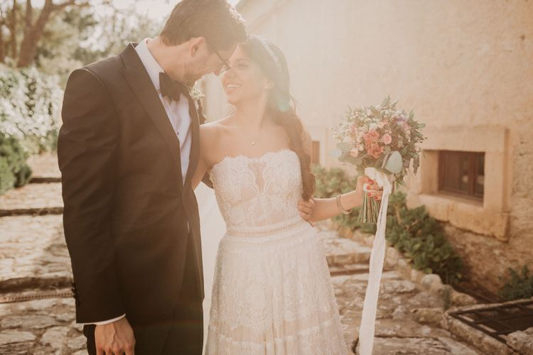 Outdoor Wedding Ceremony | Bride in Lihi Hod Bridal Gown | Groom in Richard James Savile Row Suit | Multicultural Wedding at Els Calderers in Mallorca, Spain | Pablo Laguia Photography | HUMá06 Film