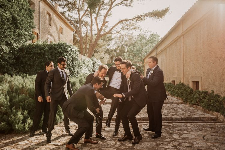 Groom in Richard James Savile Row Suit | Multicultural Wedding at Els Calderers in Mallorca, Spain | Pablo Laguia Photography | HUMá06 Film