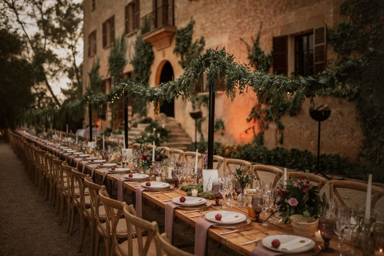 Outdoor Tablescape | Multicultural Wedding at Els Calderers in Mallorca, Spain | Pablo Laguia Photography | HUMá06 Film