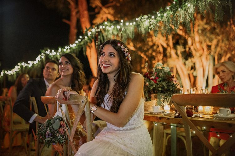 Bride in Lihi Hod Bridal Gown | Multicultural Wedding at Els Calderers in Mallorca, Spain | Pablo Laguia Photography | HUMá06 Film