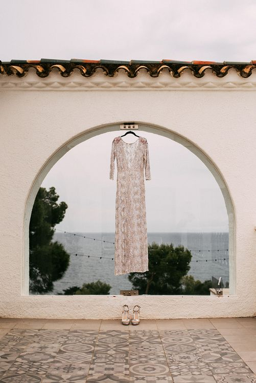 Embellished Ze García Bridal Gown with Front Split   Stylish Outdoor Wedding at Masia Casa del Mar in Barcelona, Spain   Sara Lobla Photography   Made in Video Film