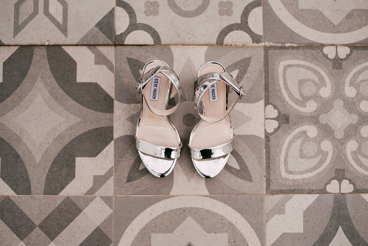 Metallic Silver Steve Madden Shoes   Stylish Outdoor Wedding at Masia Casa del Mar in Barcelona, Spain   Sara Lobla Photography   Made in Video Film