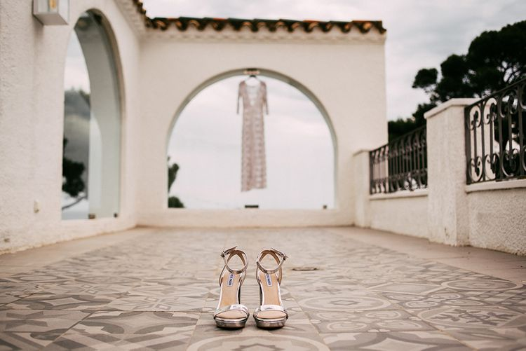 Metallic Silver Steve Madden Shoes   Embellished Ze García Bridal Gown with Front Split   Stylish Outdoor Wedding at Masia Casa del Mar in Barcelona, Spain   Sara Lobla Photography   Made in Video Film