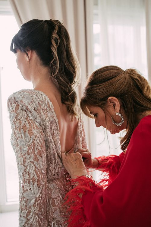 Bridal Preparations   Embellished Ze García Bridal Gown with Front Split   Stylish Outdoor Wedding at Masia Casa del Mar in Barcelona, Spain   Sara Lobla Photography   Made in Video Film