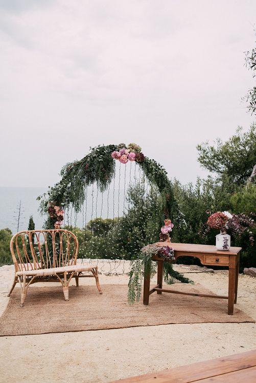 Wedding Ceremony Decor   Floral Arch   Stylish Outdoor Wedding at Masia Casa del Mar in Barcelona, Spain   Sara Lobla Photography   Made in Video Film